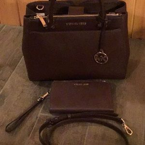 Michael Kors crossbody bag with matching wristlet